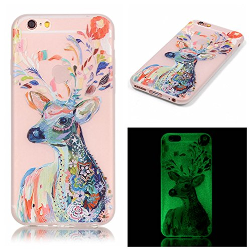 (Back Cover for Apple iPhone 6 plus/6S plus 5.5 Inch, Cuitan Colorful Deer Pattern Design Fashion Transparent Luminous Ultra Slim Case Noctilucent Glow in the Dark Soft TPU Cover Shell Skin Sleeve)