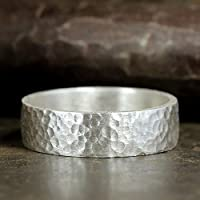 6mm Wedding Band 925 Sterling Silver Hand Forged Hammered Mens Women Unisex Flat Pipe Cut Thick Handmade Ring - FREE Engraving