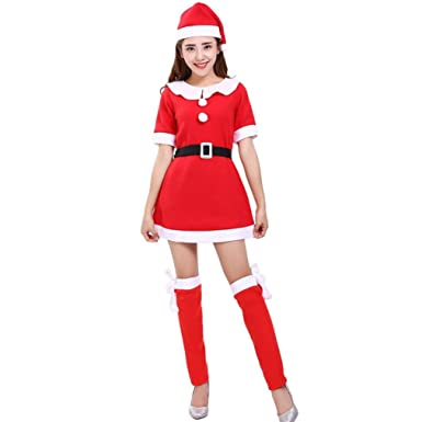 Hunputa Women Santa Claus Christmas Clothes Costume Party Cosplay Outfit Fancy Dress Hat Knee Socks Set  sc 1 st  Amazon.com : christmas dress costume  - Germanpascual.Com