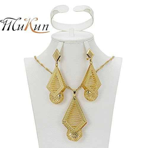 Wedding Bridal Gold Plated Jewelry Sets - MUKUN Dubai Gold Necklace Earrings Set for Gift Banquet