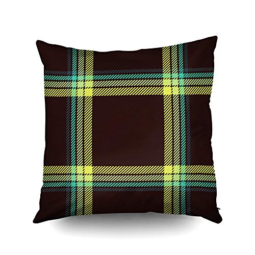 ROOLAYS Couch Pillow Cover, Throw Square Decorative Pillow Cover 20x20Inch,Cushion Covers Tartan Plaid Pattern Both Sides Printing Invisible Zipper Home Sofa Decor Pillowcase