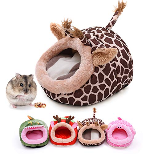 CROWNY Warm Small Pet Animals Bed -Guinea Pigs Bed,Hedgehog Winter Nest,Rat Chinchillas & Small pet Animals Bed/Cube/House, Habitat, Lightweight, Durable, Portable, Cushion (Giraffe)