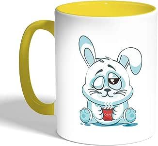 كوب سيراميك للقهوة، اسود، بتصميم الشعور بالرضى - ارنب