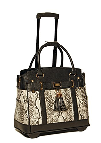 JKM and Company Firenze Python and Black Compatible with Computer iPad, Laptop Tablet Rolling Tote Bag Briefcase Carryall Bag ()