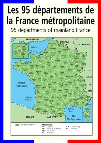 Dipartimenti Francia Cartina.A3 Francese Poster Mappa Insegnamento Aiuto Classroom