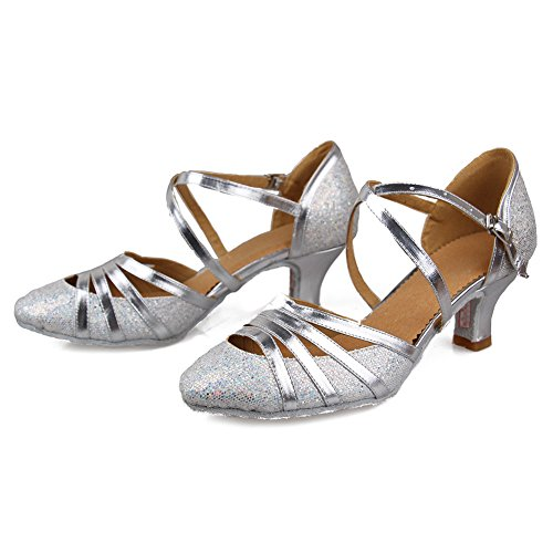 Salsa Girls YKXLM Dance Ballroom Silver Shoes Sequins UKCMJ51 Latin amp;Women's Shoes Performance Model Standard 2 wFwqCT