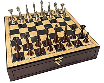 "Real Brass Metal Copper & Silver Color Modern Staunton Chess Men Set W/ 17"" High Gloss Walnut & Maple Color Storage Board"