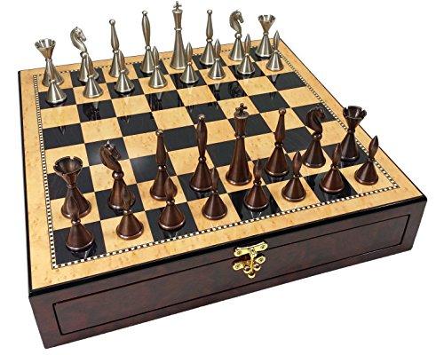 Real Brass Metal Copper & Silver Color Modern Staunton Chess Men Set W/ 17