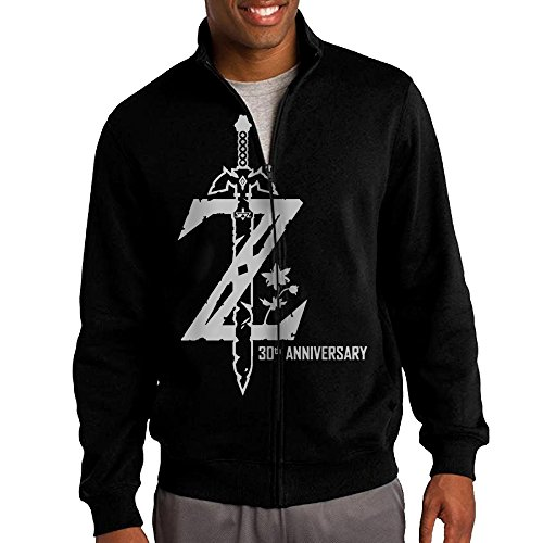 - HEHE Men's Zip-up Jacket Hooded Sweatshirt Legend Of Zelda Breath Of The Wild Size L Black