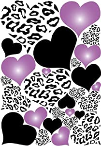Leopard Print Hearts Wall Decals In Purple Radial And Black Wall Stickers /  Decals Part 39