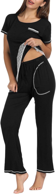Zexxxy Set da Pajama con Rifiniture in Pizzo da Donna Top in Pj a Maniche Corte in Cotone con Scollo a V e Pantaloni Lunghi