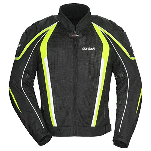Cortech GX Sport Air 4.0 Adult Mesh Road Race Motorcycle Jacket - Black/Hi-Viz X-Large