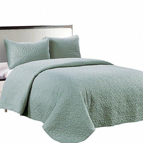 Jackson Hole Home PREWASHED 3 PC Solid Color Soft Pattern Coverlet Quilt Set, Seafoam, Queen