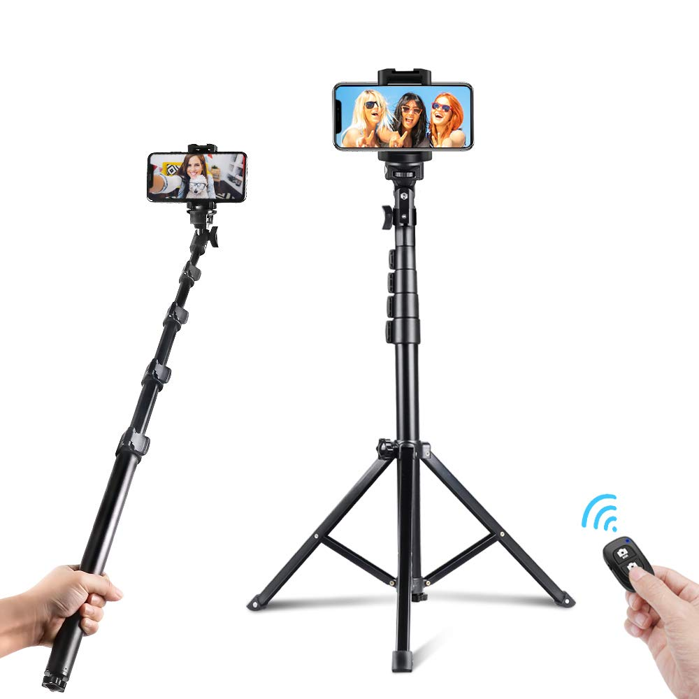 UBeesize 51-inch Selfie Stick Tripod, Detachable and Extendable Phone Tripod for Cell Phone, Compatible with iPhone and Android Phone, Includes Wireless Remote, Cell Phone Holder and Gopro Adapter by UBeesize