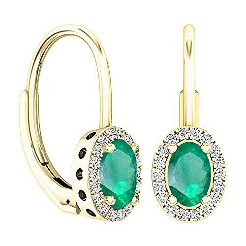 Dazzlingrock Collection 14K 6X4 MM Each Oval Cut Emerald & Round Cut Diamond Ladies Dangling Earrings, Yellow Gold