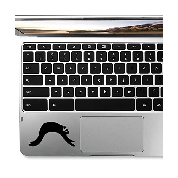 Stickany Palm Series Sloth Lazy Sticker For Macbook Pro, Chromebook, And Laptops (Black) -