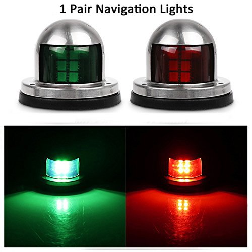 Boat Navigation Lights 12V Stainless Steel Marine Yacht Lights LED Waterproof Bow Side Lights Pontoons Sailing Signal Lights by InsReve, One Pair, Red & Green