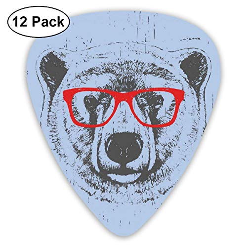 Celluloid Guitar Picks - 12 Pack,Abstract Art Colorful Designs,Whimsical Grunge Portrait Of A Polar Bear With Glasses,For Bass Electric & Acoustic Guitars.