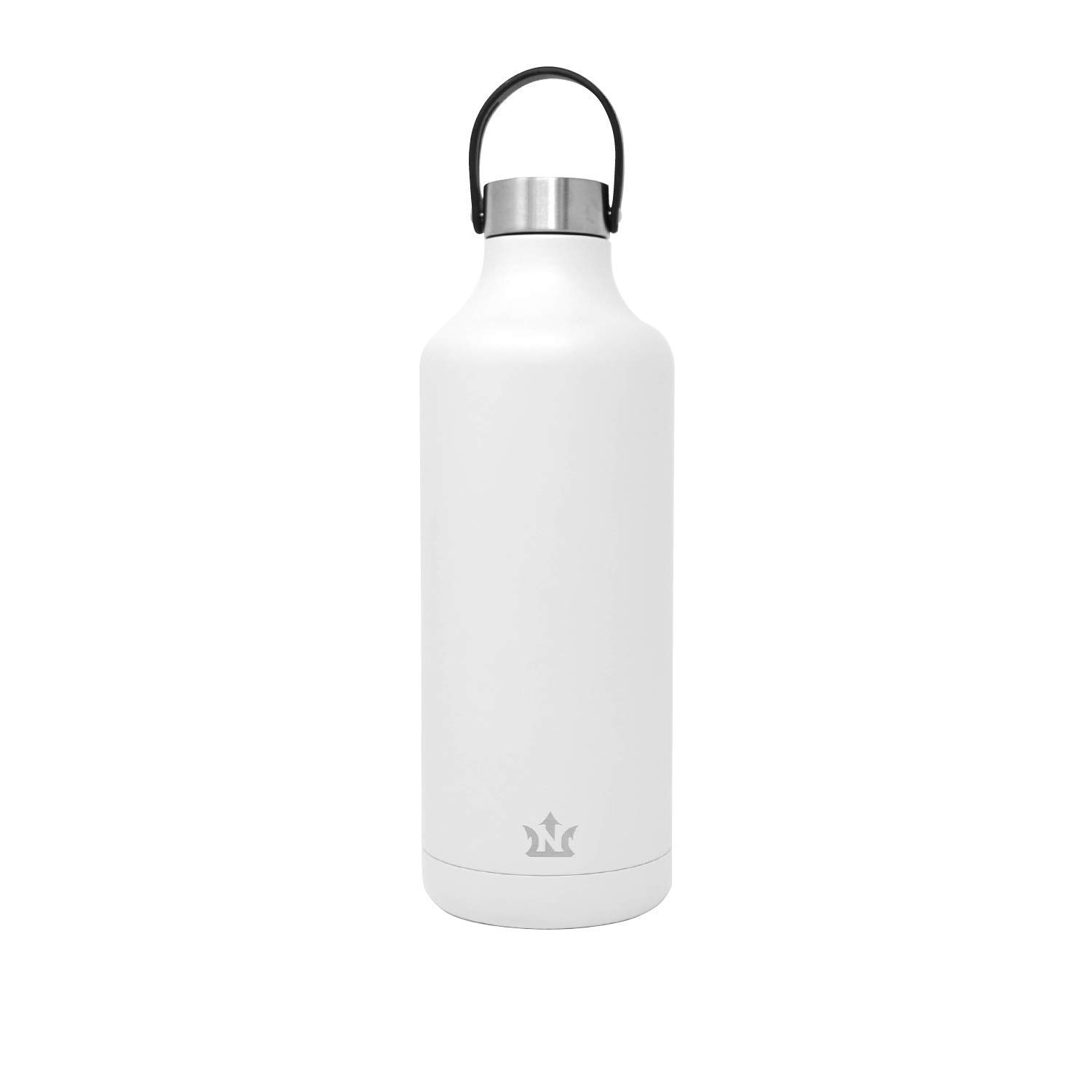 Neptune Bottle - Vacuum Insulated, Triple Wall Stainless Steel Water Bottle, with Interchangeable Carry Strap (Matte White, 32oz)