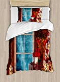 Ambesonne Christmas Duvet Cover Set Twin Size, Xmas Scenery in House with Frozen Window Traditional Ritual Annual Festive Design, Decorative 2 Piece Bedding Set with 1 Pillow Sham, Red Blue