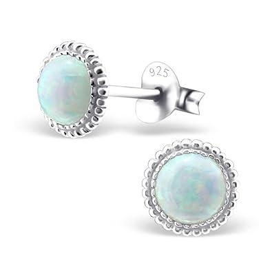 Silvinity Damen Ohrringe Opal weiß - 925 Silber Ohrstecker rund mit Opalen  (synth.) f7d65a79dd