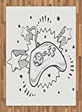 Boy's Room Area Rug by Lunarable, Seventies Pop Inspired Retro Composition Doodle Style Video Game Controller, Flat Woven Accent Rug for Living Room Bedroom Dining Room, 5.2 x 7.5 FT, Black White