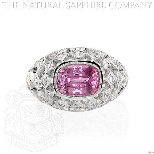 Custom Diamond Bezel (3.60ct Natural Pink Sapphire set in an 18k White Gold Antique Bezel Setting with .63cts of Diamonds (J3830))