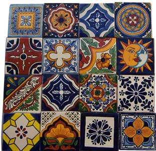 16 Hand Painted Talavera Mexican Tiles - Ceramic Hand 16 Tiles Painted