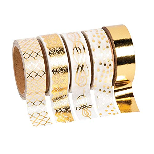 Foil Print Paper - Gold Foil Print Washi Tape (5 rolls/unit) Each roll includes 16 ft. of tape. Paper. (1 Unit)