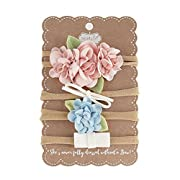Mud Pie Floral & Bow Mini Headband Set, One Size, Pink/Blue