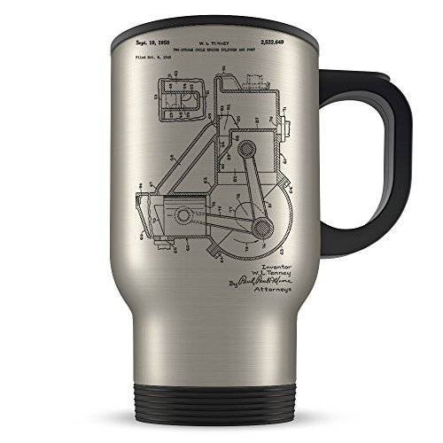 Dirt Bike Travel Mug for Men and Women - Dirt Biking Coffee Cup for 2 Stroke Riders - Best Motocross Themed Gift Idea for Dirt Bikers - Cool Engine Invention Patent