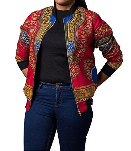 GLADTHINK Femme Africain Dashiki Caftan Culturel Porter Veste Rouge