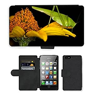 Grand Phone Cases PU LEATHER case coque housse smartphone Flip bag Cover protection // M00140530 Insecto Saltamontes Macro Cerrar // Apple iPhone 4 4S 4G