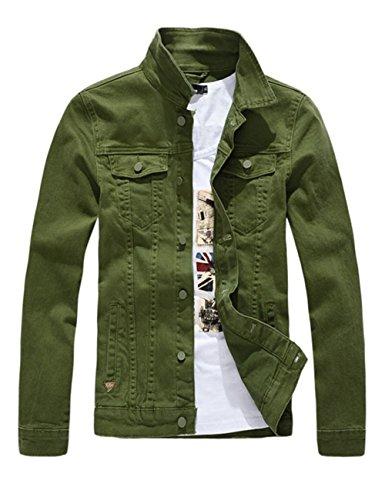 DSDZ Men`s Classic Slim Fit Motorcycle Denim Jacket Coat Green L(Asian - Green Denim