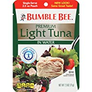BUMBLE BEE Premium Light Tuna in Water, Ready to Eat Tuna Fish, High Protein Food, 2.5oz Pouch (Pack of 12)