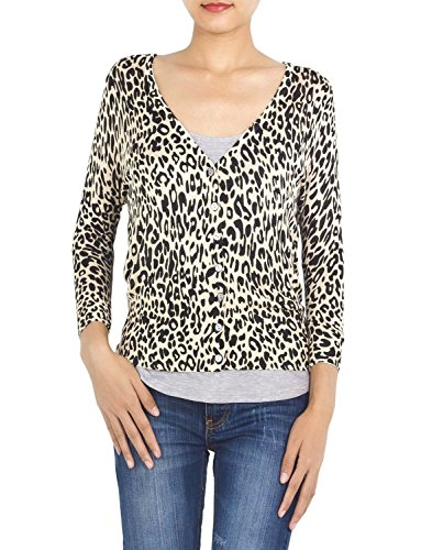 Cotton Animal Print V-neck Cardigan - 3