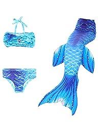 Cinlan Girl's 3 Pcs Mermaid Tail Swimwear Children Mermaid Clothing Bikini Swimsuit