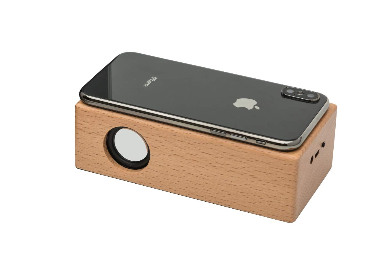 OHHAI Wireless Touch Stereo Portable Wooden Speaker,Without.