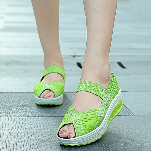 Da Scarpe Donne Toe Per 37 Shoes Verde Knitting Ginnastica Open Dimensione Zhrui Eu Rosso colore qI58XX