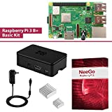 NeeGo Raspberry Pi 3 B+ (B Plus) Basic Kit Pi Barebones Computer Motherboard with 64bit Quad Core CPU & 1GB RAM, Black Pi3 Case, 2.5A Power Supply & Heatsink 2-Pack For Sale
