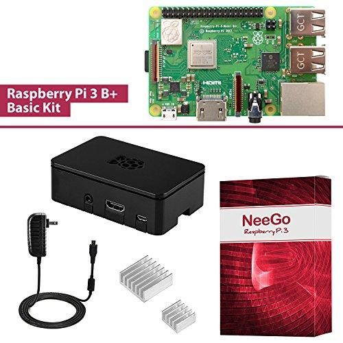 NeeGo Raspberry Pi 3 B+ (B Plus) Basic Kit Pi Barebones Computer Motherboard with 64bit Quad Core CPU & 1GB RAM, Black Pi3 Case, 2.5A Power Supply & Heatsink 2-Pack