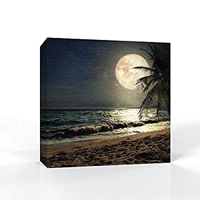 Moon Illuminating The Blue Ocean Home Artwork for Living Room Bedroom, Quality Artwork, Amazing Creative Design