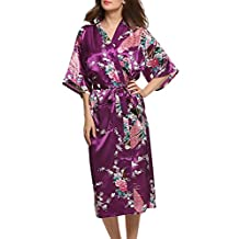 Dolamen Women's Dressing Gown Kimono, Satin Peacock Bathrobe Nightwear Pyjamas