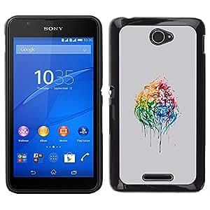 YiPhone /// Prima de resorte delgada de la cubierta del caso de Shell Armor - Psychedelic Rainbow Lion - Sony Xperia E4