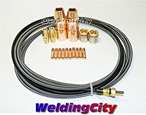 WeldingCity MIG Gun Accessory Kit Nozzle-Contact Tip-Diffuser-Liner for Miller Millermatic M-25 M-40 MIG Guns by WeldingCity