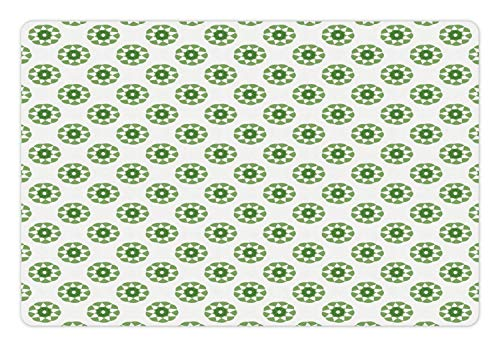 Ambesonne Green and White Pet Mat for Food and Water, Contemporary Ornaments Repetitive Concentric Arcs Round Shapes, Rectangle Non-Slip Rubber Mat for Dogs and Cats, Fern Green and White