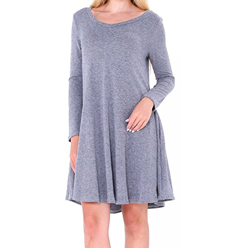 Neck Pleated Shirt Loose Long V T Light Women's Solid Dress Swing Sleeve Gray Bodycon4U ITvxqAwEav