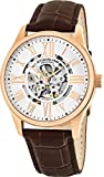 Stuhrling Original Mens Stainless Steel, Rose Gold Plated, Automatic Watch, Silver Skeleton Dial, Brown Leather Band, 747 Series