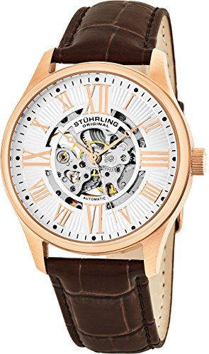 Stuhrling Original Mens Stainless Steel, Rose Gold Plated, Automatic Watch, Silver Skeleton Dial, Brown Leather Band, 747 Series ()