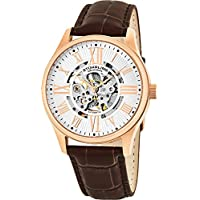 Mens Stainless Steel, Rose Gold Plated, Automatic Watch, Silver Skeleton Dial, Brown Leather Band, 747 Series